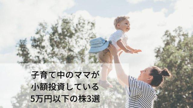 子育て世代のママが保有する5万円以下の株3つ